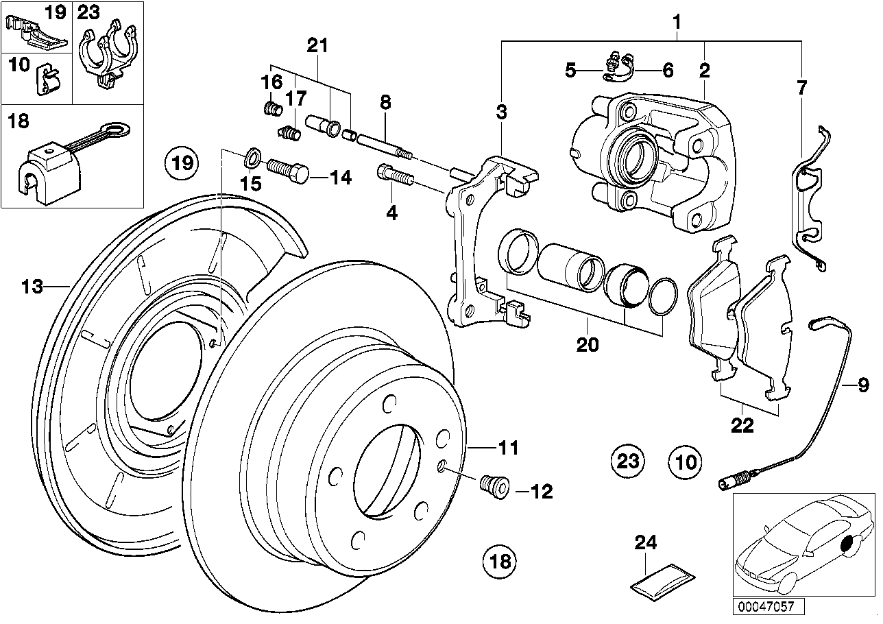 Online Bmw Parts Catalog Brake Pad Diagram Rear Wear Sensor