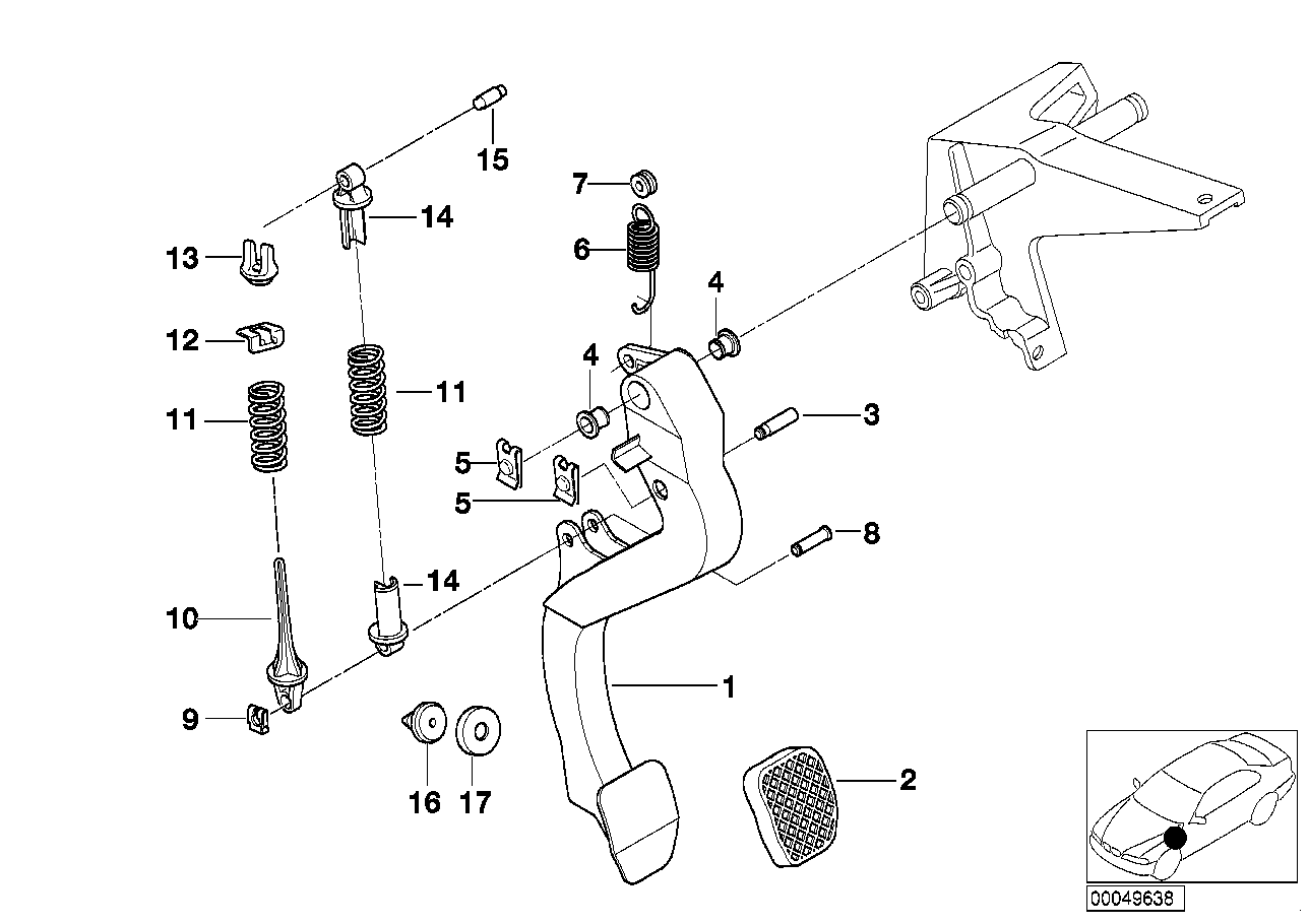 e36 clutch pedal assembly diagram