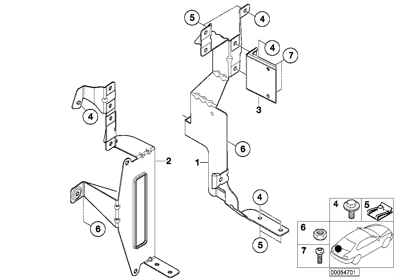 CD changer mounting parts
