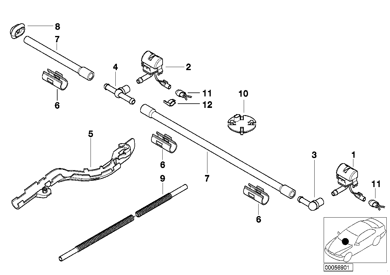 Single parts for windshield cleaning