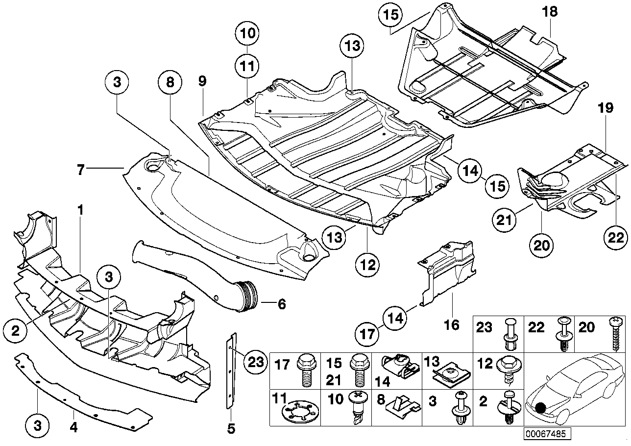 Shielding, engine compartment/air ducts