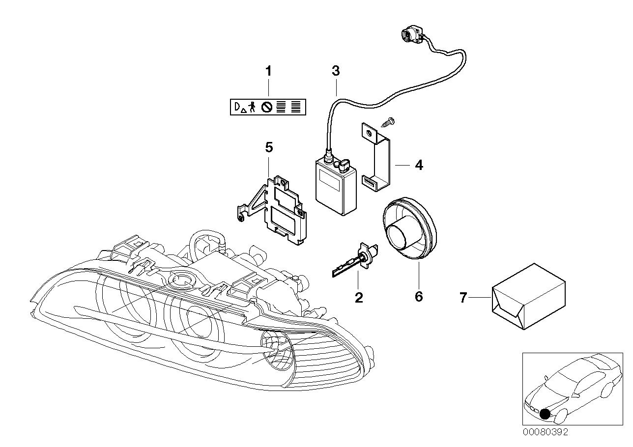 bmw 530i headlight parts diagram