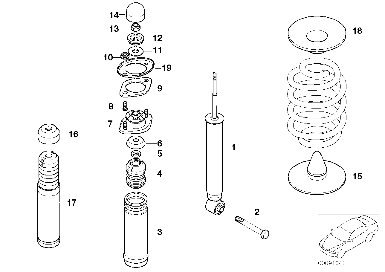 REAR SPRING STRUT MOUNTING PARTS