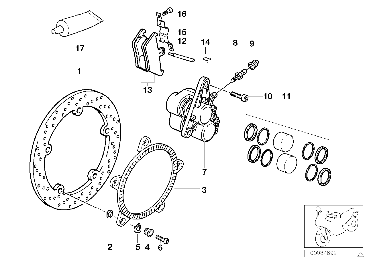 Front wheel brake, Integral ABS