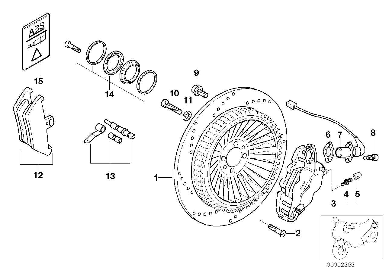 Rear wheel brake, ABS