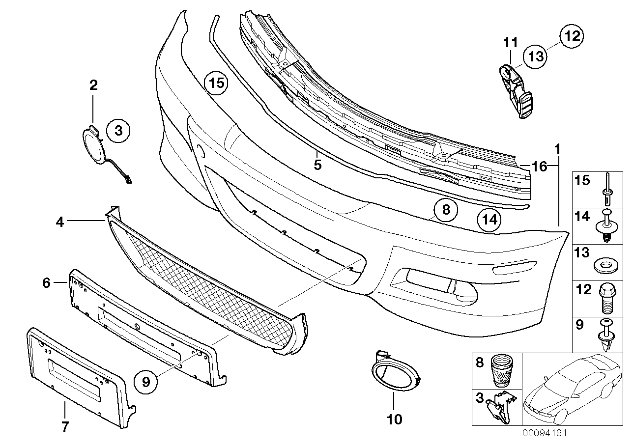 2001 bmw 325i bumper diagram
