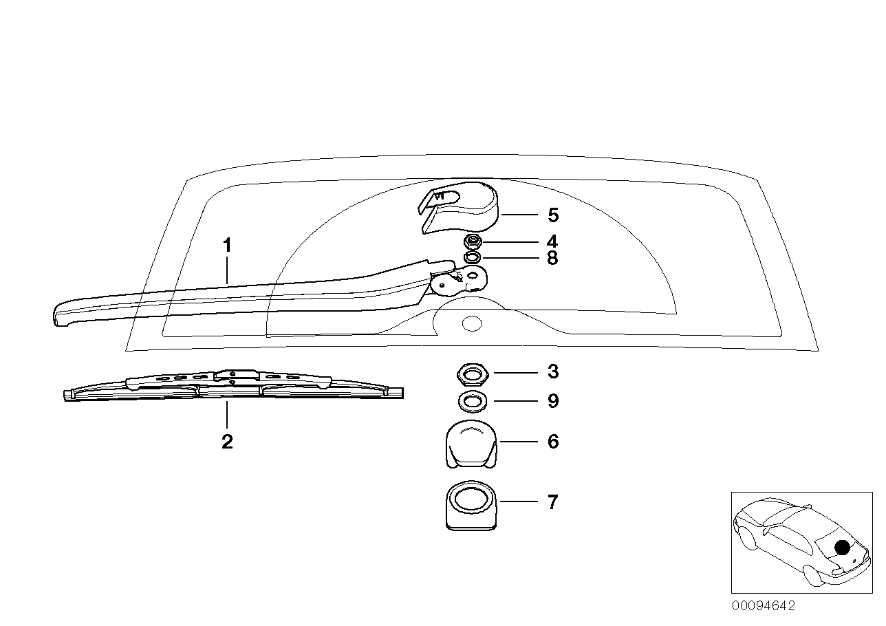Single parts, rear window wiper arm