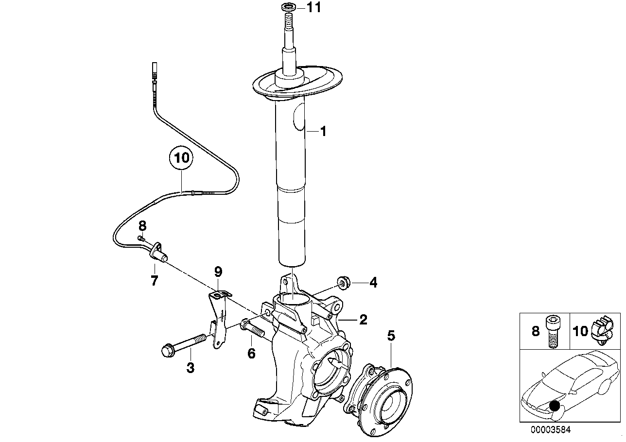 Front Spring strut/Carrier/Wheel bearing