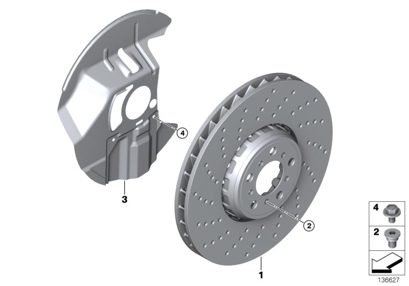 Front wheel brake disc perforated