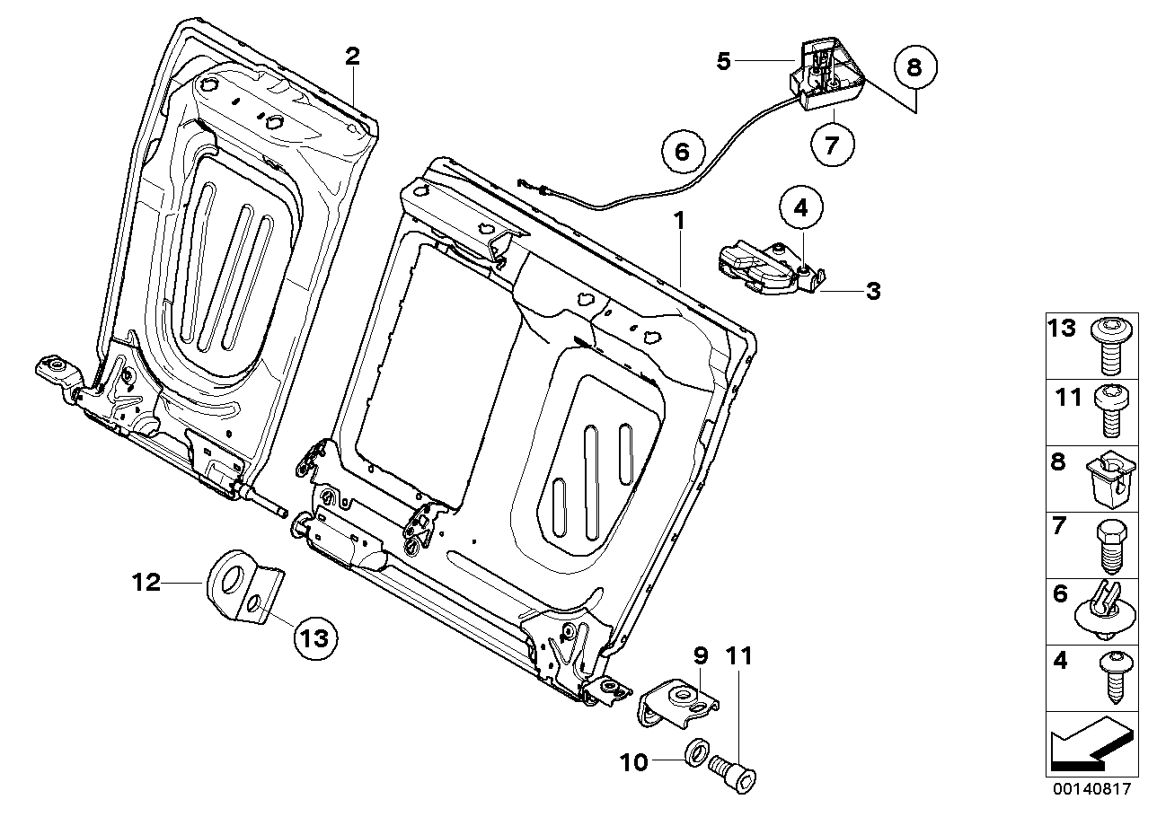 Seat, rear, seat frame, load-through