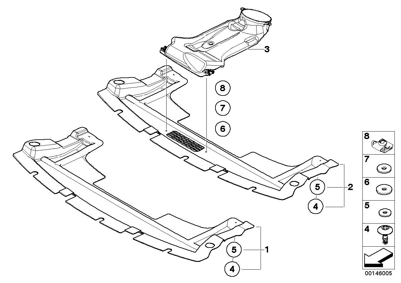 Underbody cover, front