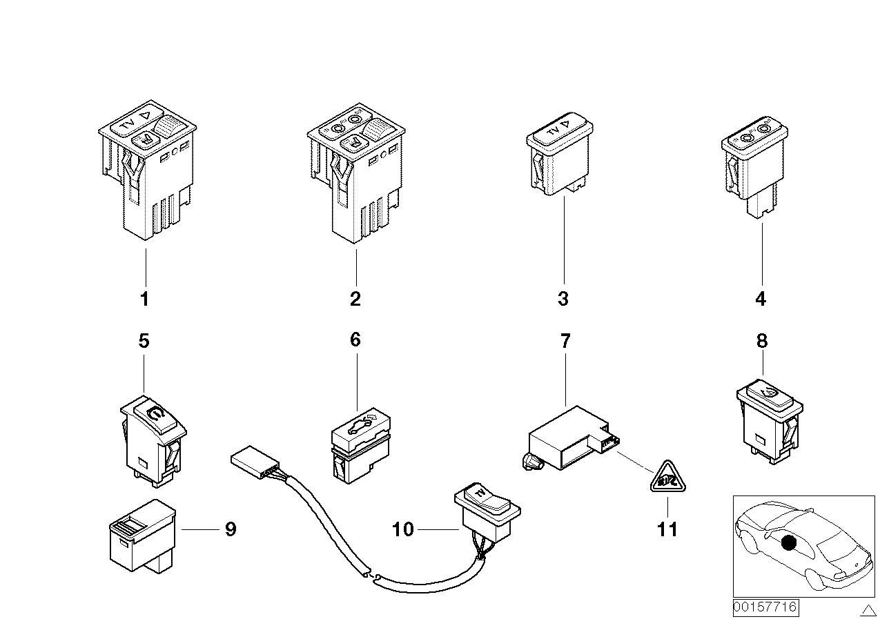 Various switches, TV switch