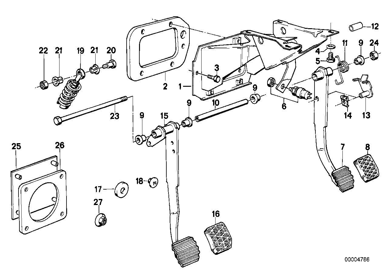 Online Bmw Parts Catalog E28 Engine Diagram Pedals Stop Light Switch