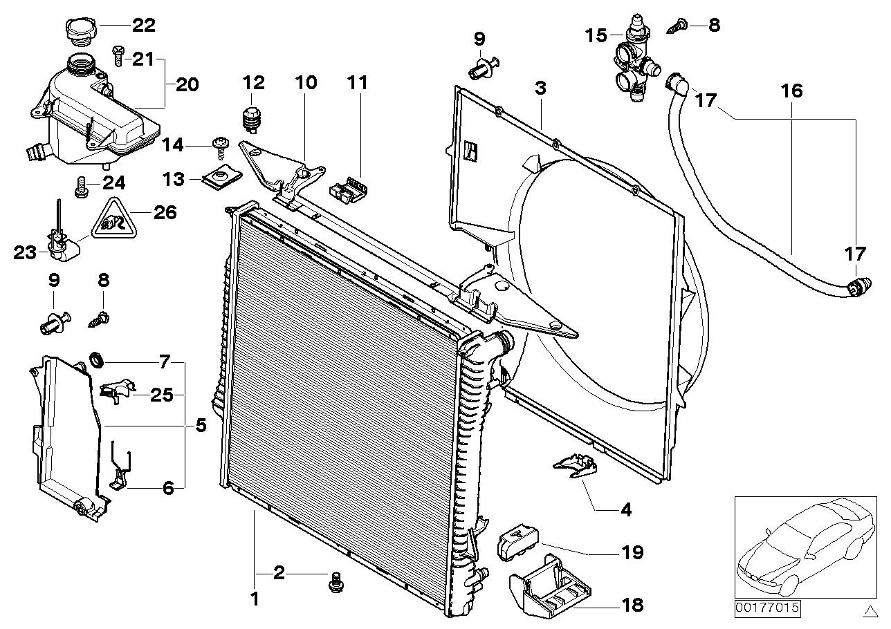 condenser fan cooling bmw tubing of oem image parts radiator shroud set