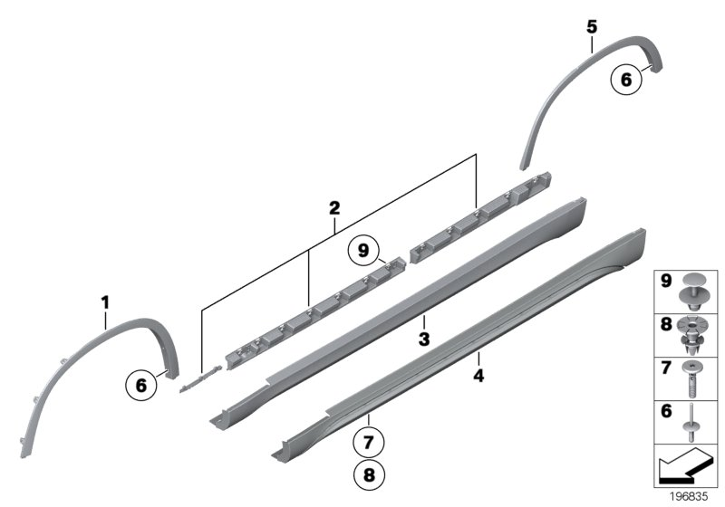 Cover door sill / wheel arch
