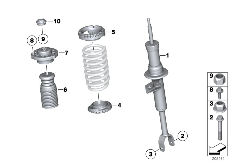 Mounting parts f front spring strut assy