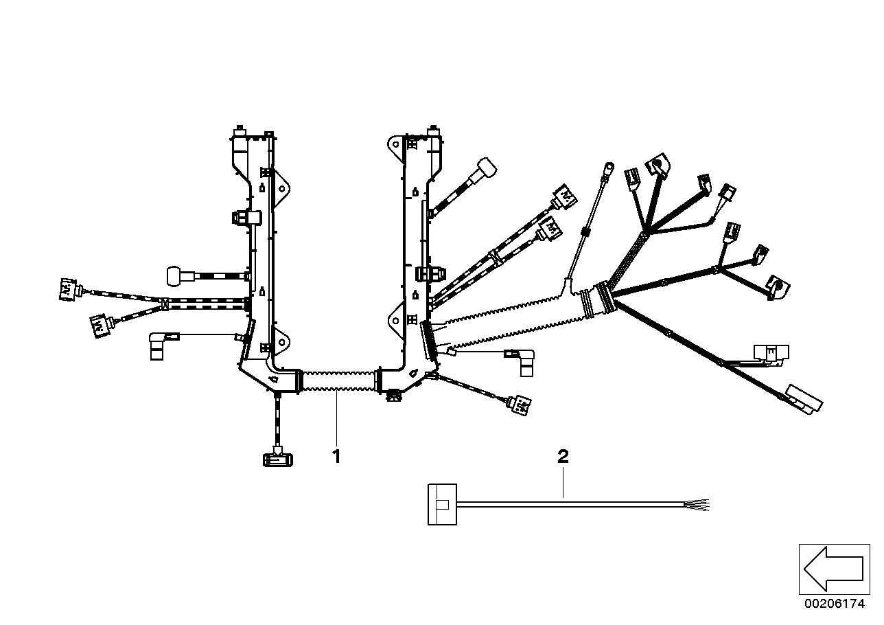 Engine wiring harness, engine module