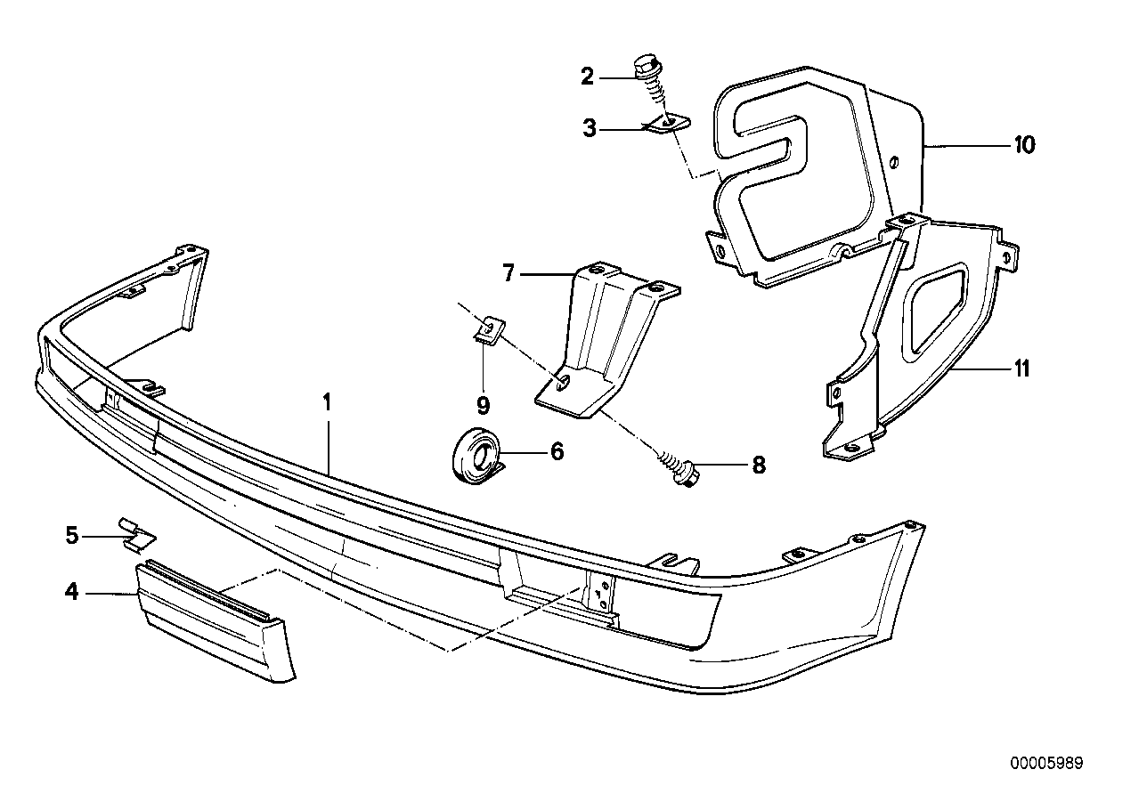 Front bumper mounting parts