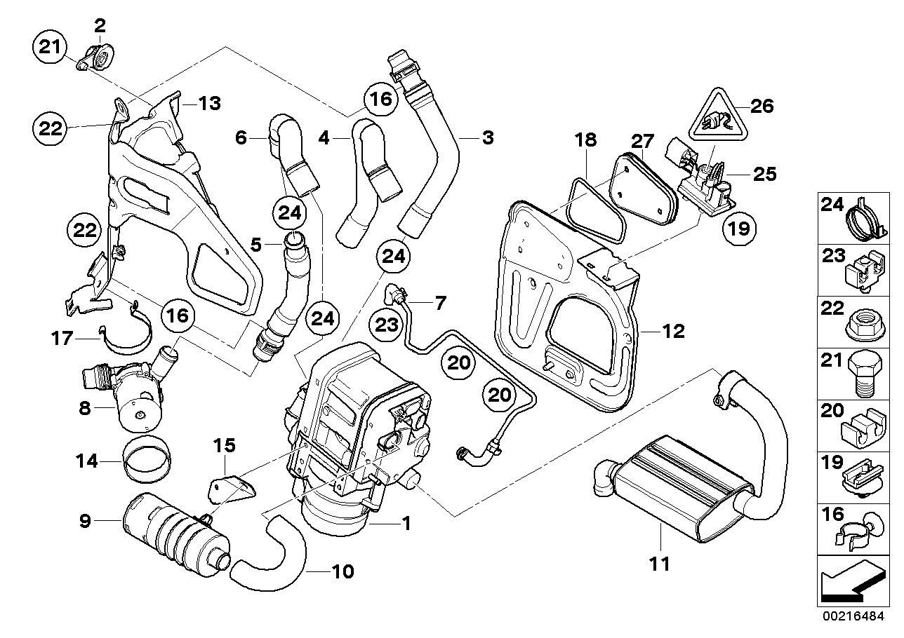 Spare parts, auxiliary heater Bypass Sys