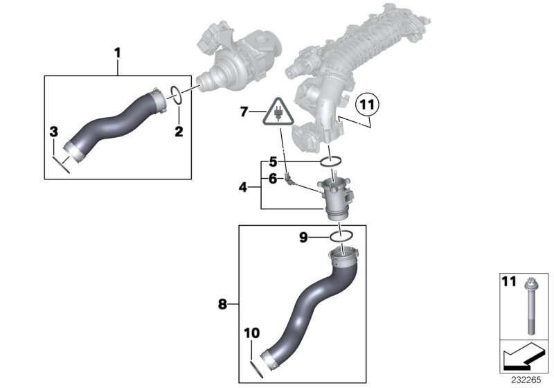 Intake manifold-supercharg.air duct/AGR