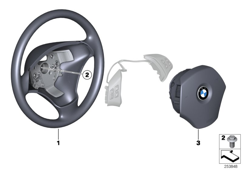Steering wheel, leather, multif./airbag