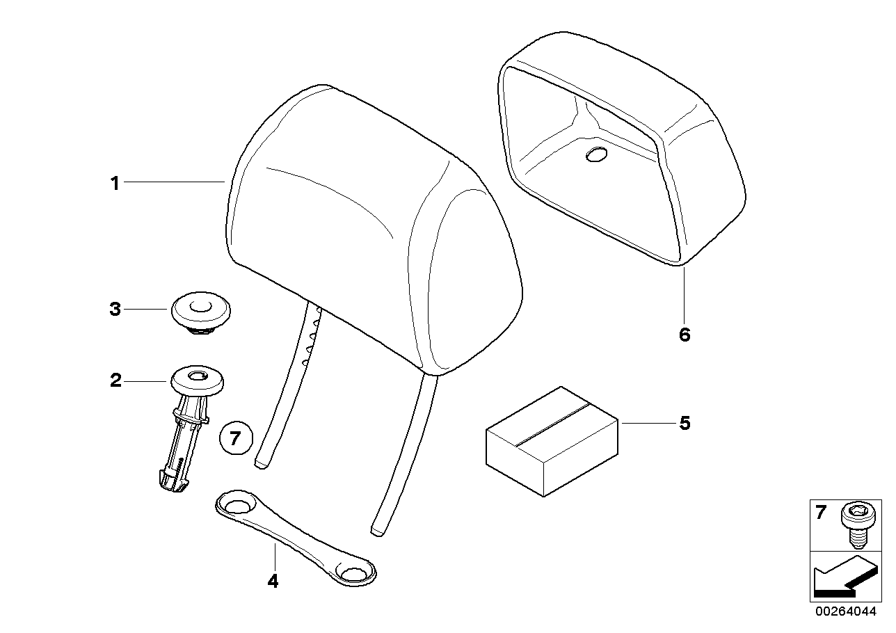 Seat, front, head restraint, base seat
