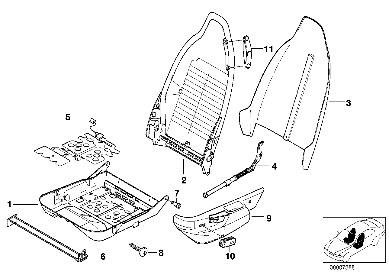 FRONT SEAT FRAME/COVERS