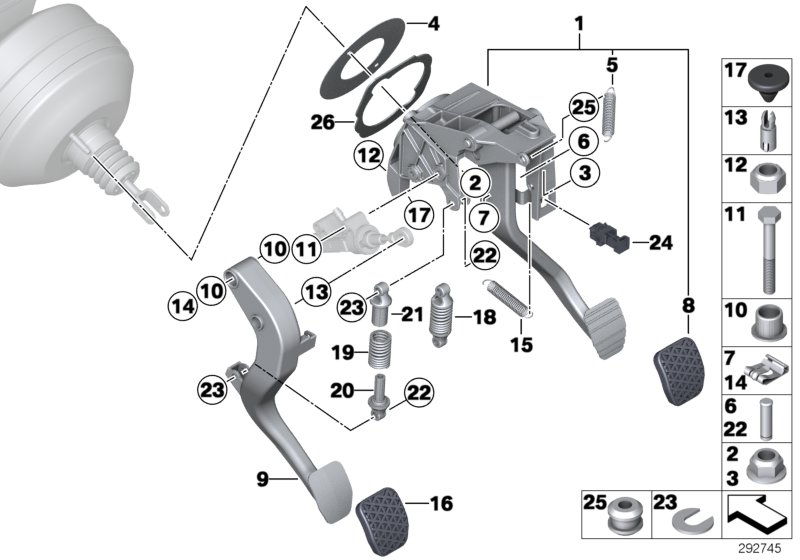 Pedal assy w over-center helper spring