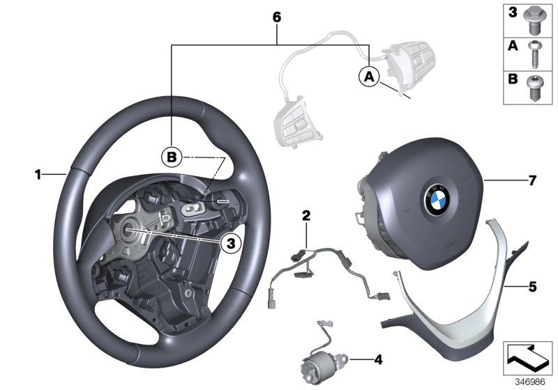 Airbag sports steering wheel, leather