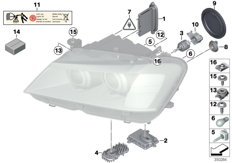 Single components f headlight Xenon/ALC