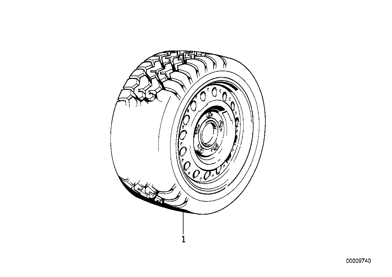 Wheel and tyre set, winter