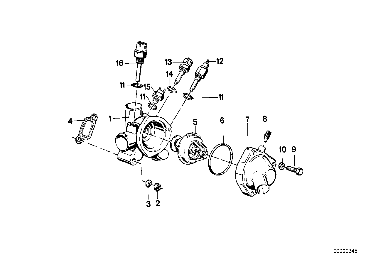 Cooling system-thermostat housing