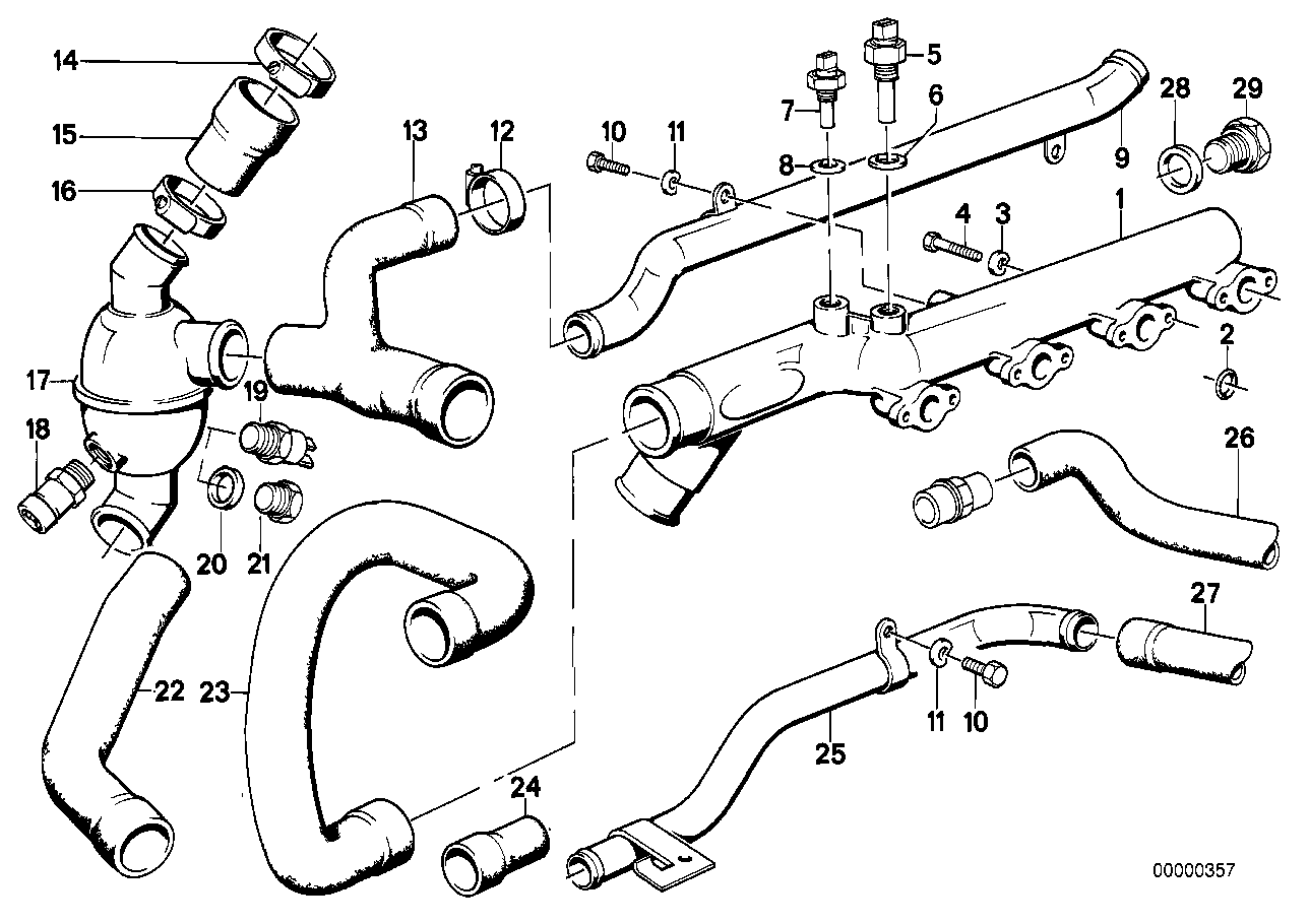 COOLING SYSTEM THERMOSTAT/WATER HOSES