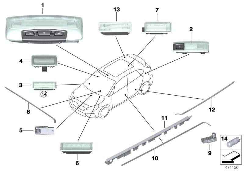 Genuine LED module centre console BMW Hybrid X1 E84 F20 F21 F22 F23 63319242162