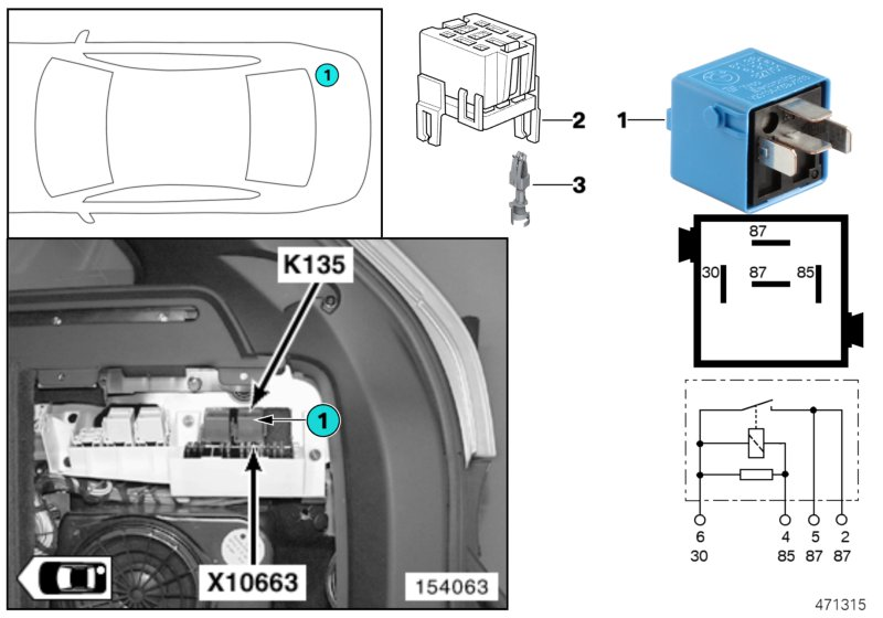 Relay for seat adjustment K135