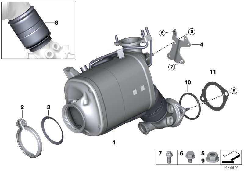 Catalyser/Diesel particulate filter