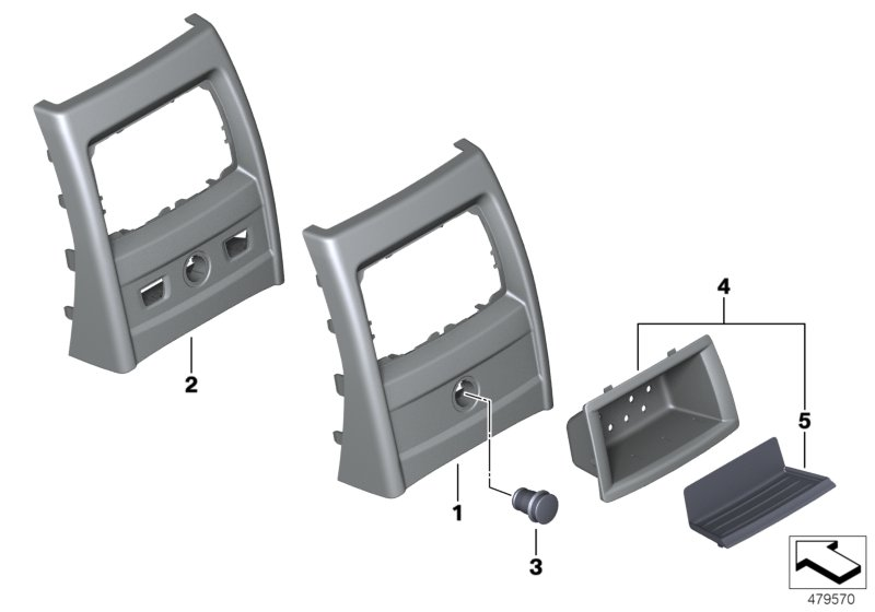 Mounting parts, center console, rear