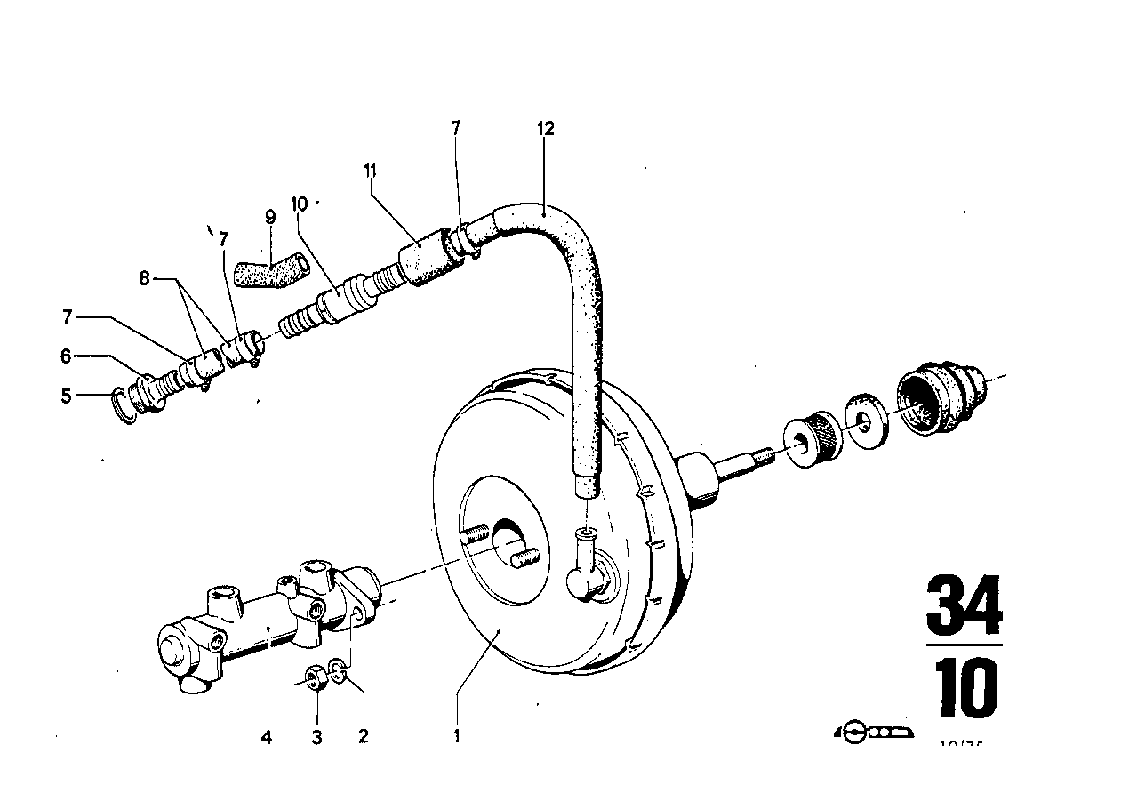 Brake master cylinder w.power brake unit