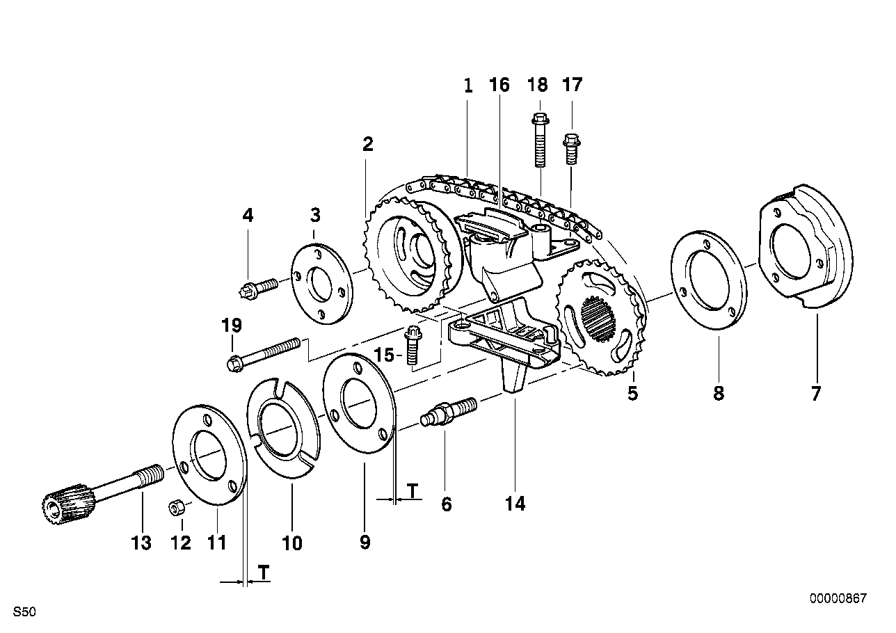 timing gear timing chain top