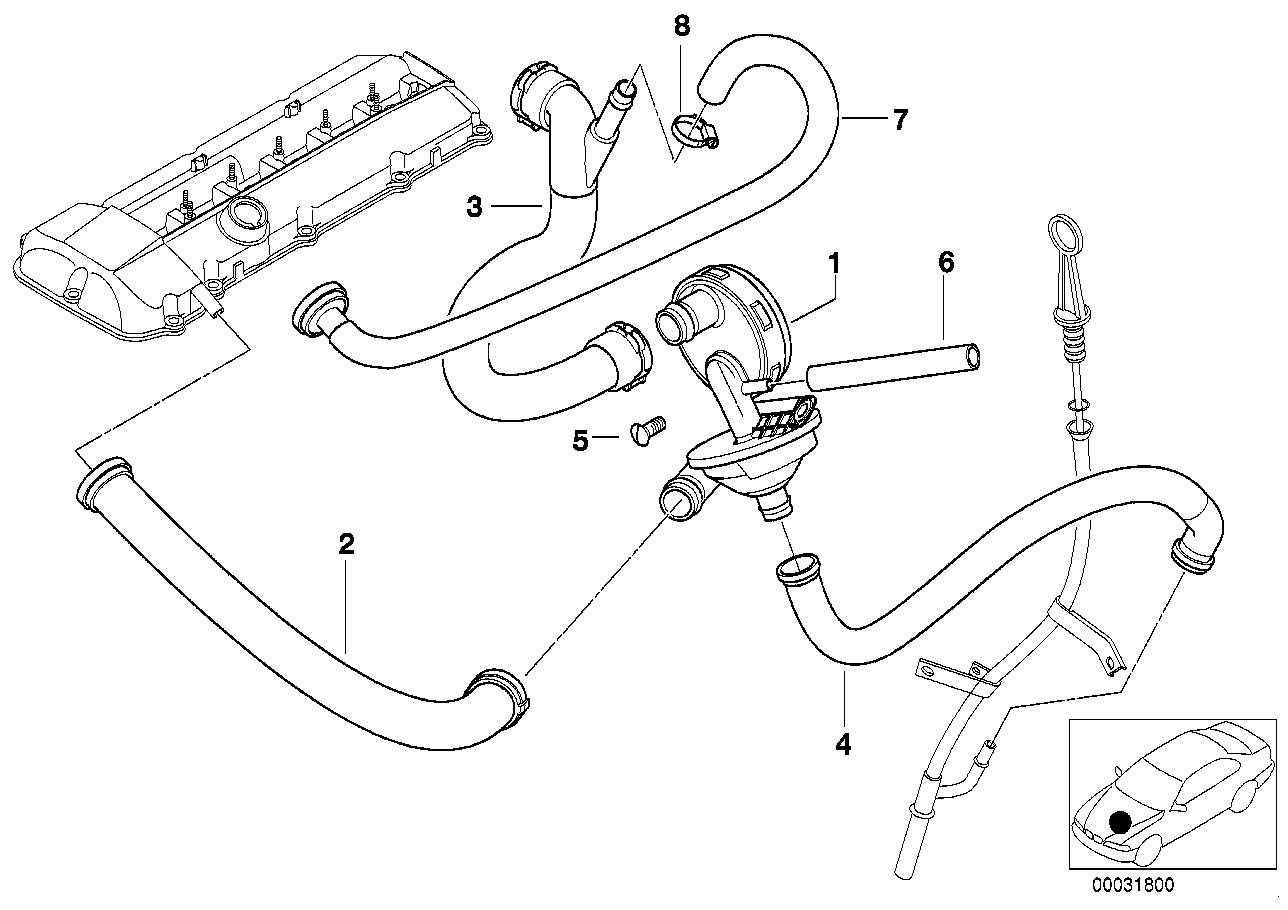 3' e46 328i crankcase-ventilation/oil separator