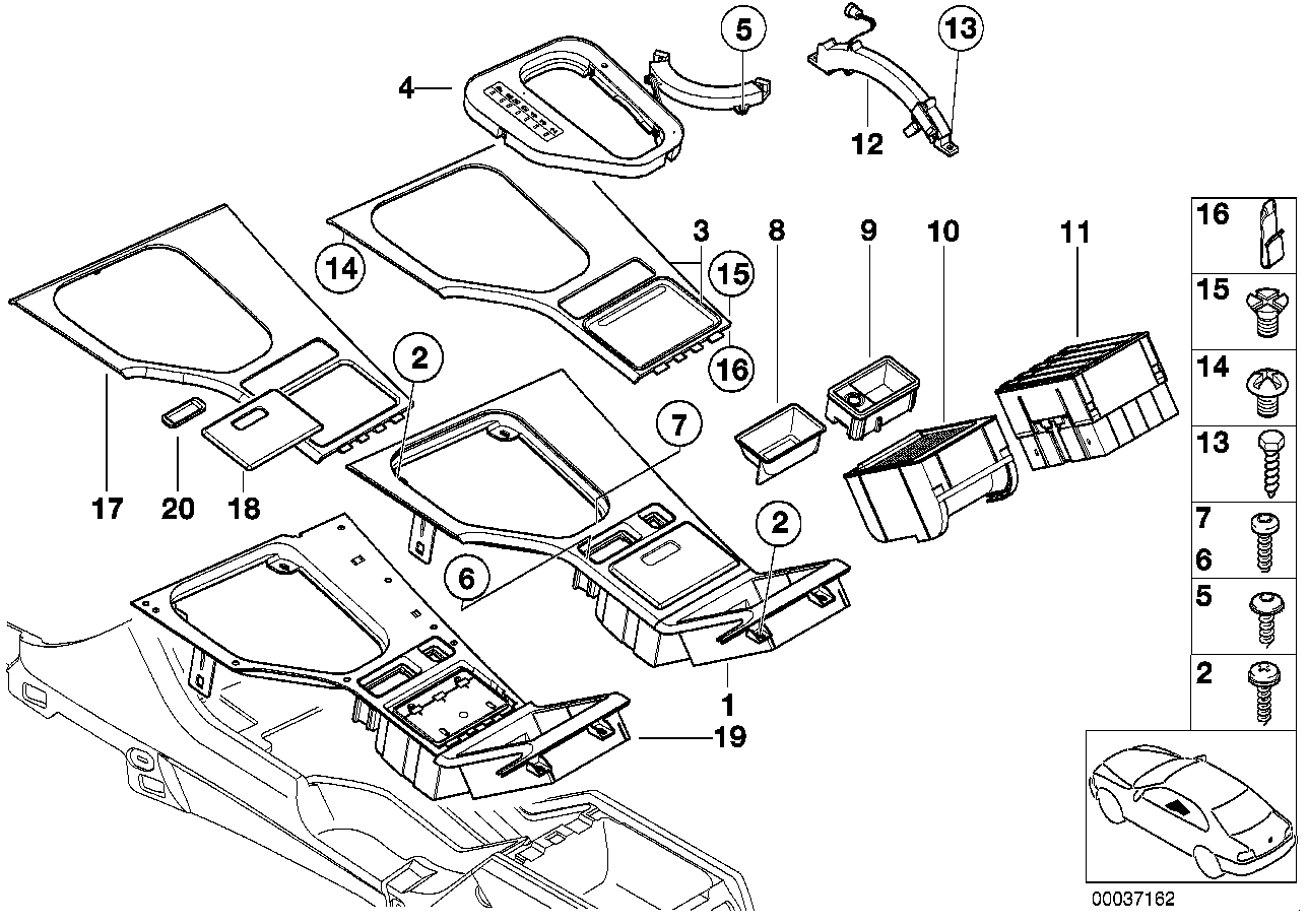 Mounting parts, center console