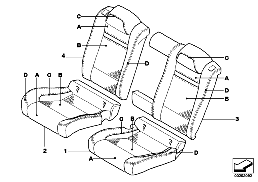 INDI. COVER, SEAT, REAR, PERFORATED LTHR