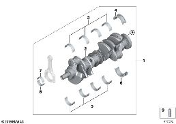 CRANKSHAFT WITH BEARING SHELLS
